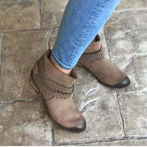 Shoes - Taupe distressed leather ankle boots never worn